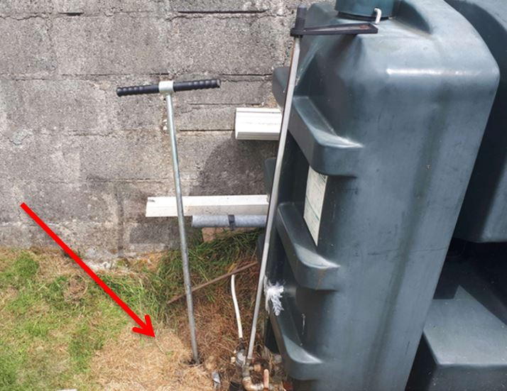 leaking oil tank - oil stains - oil contamination